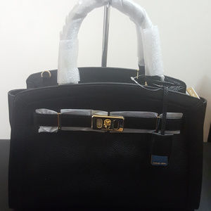 Michael Kors Large Karson Black Leather Satchel